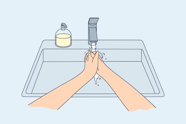 Гигиена, дезинфекция, кулинария, коронавирус, концепция защиты.