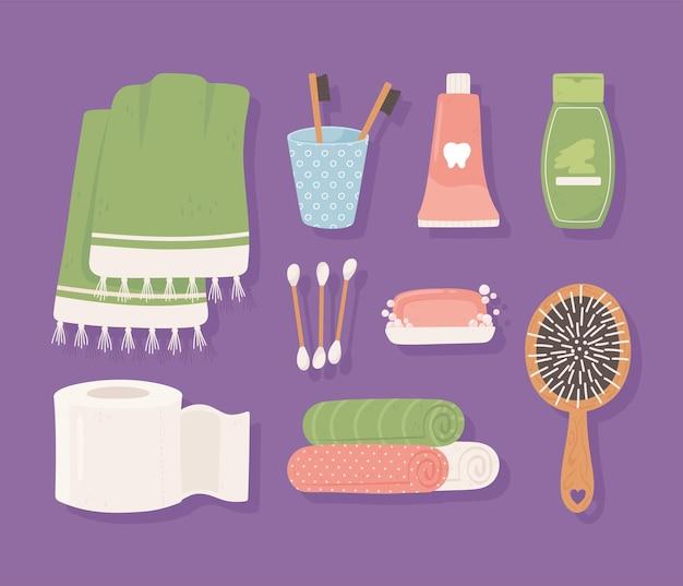 Hygiene icons cartoon