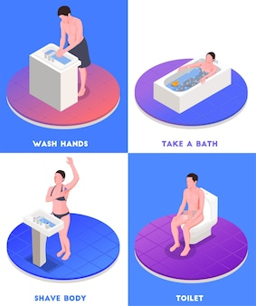 Hygiene isometric concept set with bathing and toilet isolated