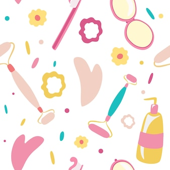 衛生製品とアクセサリーはシームレスなパターンの化粧品化粧品ツールをベクトルします