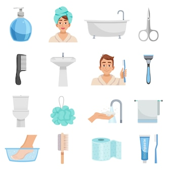 Hygiene products icon set
