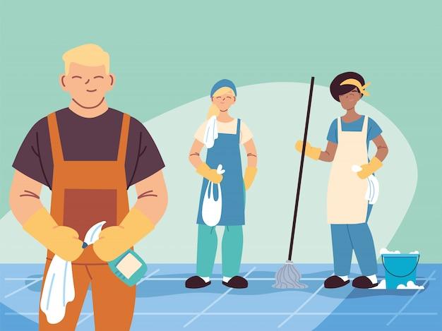 Персонал по гигиене работает в команде, дворники, уборка