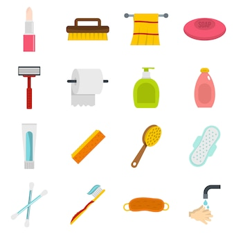 Hygiene tools icons set in flat style