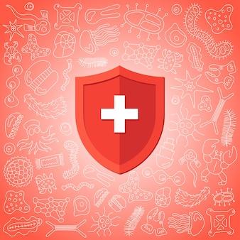 바이러스 세균과 박테리아로부터 보호하는 위생 의료 예방 빨간색 방패. 면역 체계 개념입니다. 미생물학 및 의학 평면 벡터 일러스트 배너 디자인