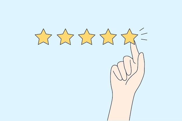 Hyman hand showing five star excellent rating