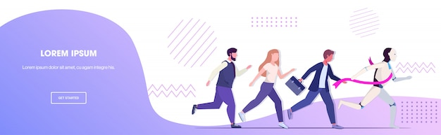Hymanoid winner running with businesspeople robot vs human business competition banner