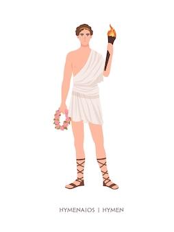 Гименей или гименей - бог или божество свадебных церемоний и свадеб из эллинистической религии или мифологии. мужской мифологический персонаж держит венок и факел. плоские векторные иллюстрации шаржа.