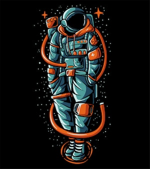 Hype astronaut wearing sweater  illustration