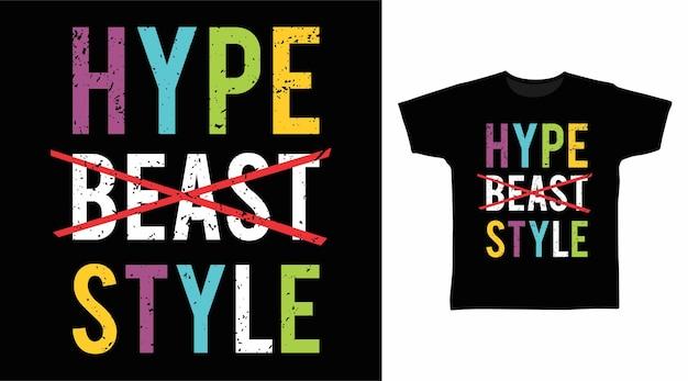 과장된 짐승 스타일의 타이포그래피 티셔츠 디자인