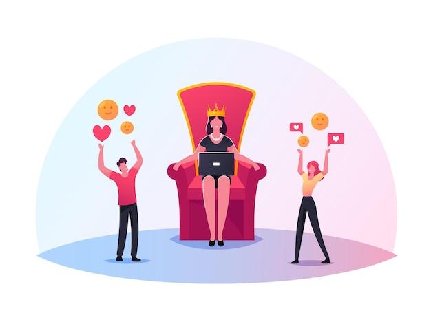 과대 광고, 블로깅, 네트워킹 그림. 소셜 미디어 요소가있는 캐릭터가 거대한 왕관을 쓴 여자와 함께 왕좌에 서 있습니다.