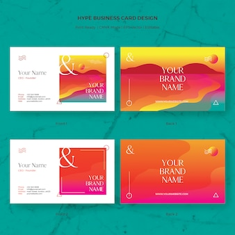 Hype business card vector template with gradient sunset beach illustration