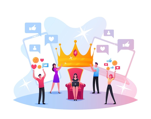 誇大広告の概念。小さな男性と女性のキャラクターは、玉座に座っている女性の頭に巨大な王冠を置きます。ソーシャルメディアのウイルスまたは偽のコンテンツの拡散、人気、名声。漫画の人々のベクトル図