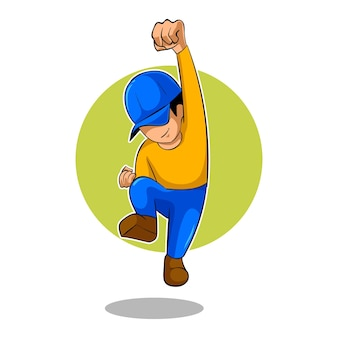Hype people pose mascot esports logo vector illustration