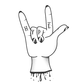 Hype sign tattoo on hand with rock and roll cool gesture sketch.