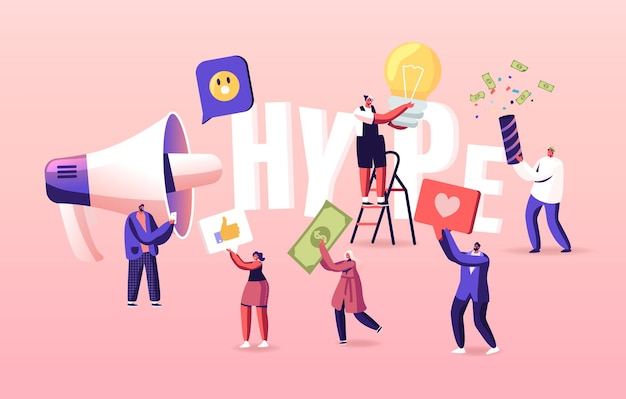 Hype, social media viral or fake content spreading illustration. tiny characters with huge letters and megaphone.