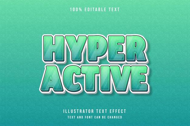 하이퍼 활성, 3d 편집 가능한 텍스트 효과 녹색 그라데이션 만화 효과