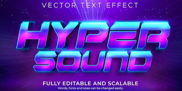 Hyper sound text effect editable retro and vintage text style