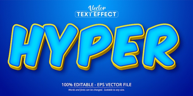 Hyper text, cartoon style editable text effect