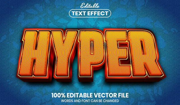 Hyper text, font style editable text effect