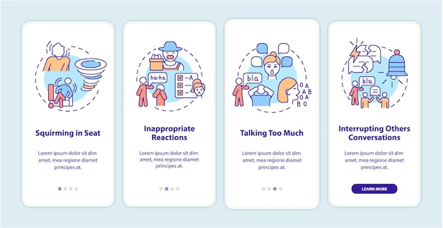 Hyperactive-impulsive symptoms onboarding mobile app page screen. squirming in seat walkthrough 4 steps graphic instructions with concepts. ui, ux, gui vector template with linear color illustrations