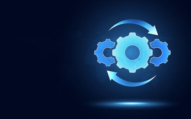 Предпосылка абстрактной технологии преобразования цифровой передачи шестерни hyperautomation футуристическая голубая.