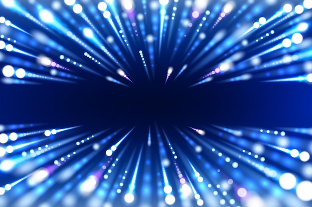 Hyperspace abstract background of blue neon lights hyperspeed motion