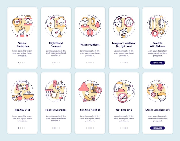 Hypertension diagnosis onboarding mobile app page screen set