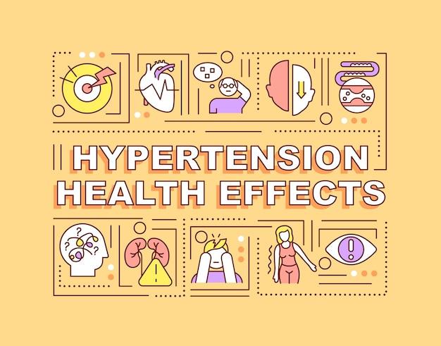 고혈압 건강 효과 단어 개념 배너입니다. 건강 합병증. 오렌지 배경에 선형 아이콘으로 인포 그래픽입니다. 고립 된 창조적 인 인쇄술. 텍스트와 벡터 개요 컬러 일러스트