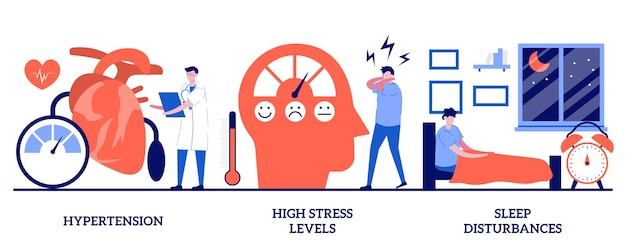 Hypertension, high stress levels, sleep disturbances concept with tiny people. urban health problems vector illustration set. high blood pressure, anxiety idea, insomnia and somnipathy metaphor.