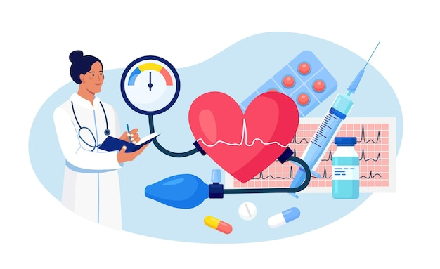 Hypertension, hypotension disease. doctor writing results of cardiology checkup. big heart with sphygmomanometer, cardiogram, syringe, medications. cardiologist measuring patients high blood pressure