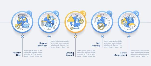 고혈압 예방 벡터 infographic 템플릿입니다. 일반 운동 프레젠테이션 개요 디자인 요소입니다. 5단계로 데이터 시각화. 타임라인 정보 차트를 처리합니다. 라인 아이콘이 있는 워크플로 레이아웃