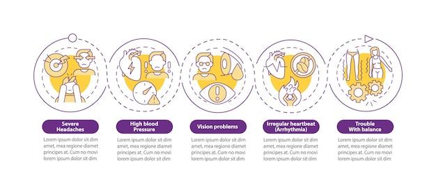 고혈압 증상 벡터 infographic 템플릿입니다. 심한 두통 프레젠테이션 개요 디자인 요소입니다. 5단계로 데이터 시각화. 타임라인 정보 차트를 처리합니다. 라인 아이콘이 있는 워크플로 레이아웃