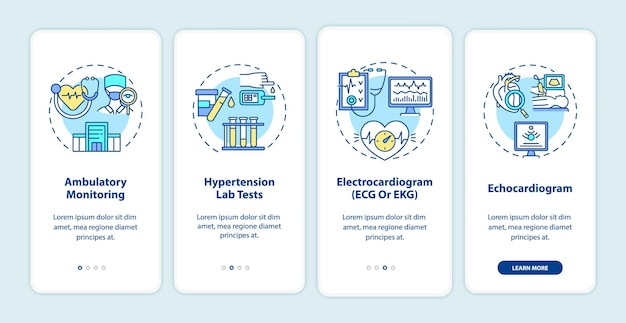 Hypertension tests onboarding mobile app page screen. ambulatory monitoring walkthrough 4 steps graphic instructions with concepts. ui, ux, gui vector template with linear color illustrations