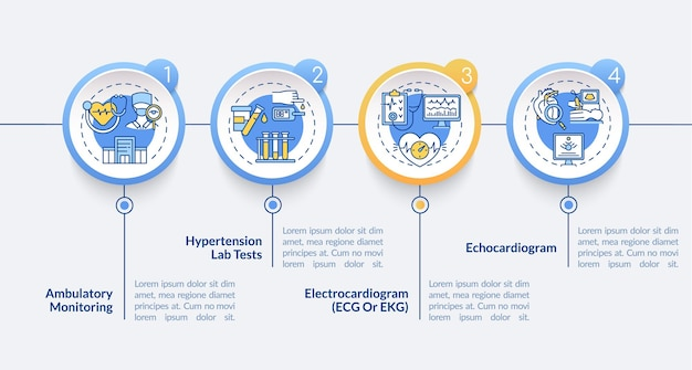 高血圧テストベクトルインフォグラフィックテンプレート。心電図プレゼンテーションの概要設計要素。 4つのステップによるデータの視覚化。タイムライン情報チャートを処理します。線アイコン付きのワークフローレイアウト