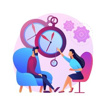 Illustrazione di concetto astratto di pratica di ipnosi. stato mentale alterato, servizi di trattamento dell'ipnosi, pratica psichiatrica, ridotta consapevolezza periferica, trance medica.