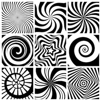 Hypnotic background. circular swirl wallpaper spiral twist round shapes geometric abstract lines  collection.