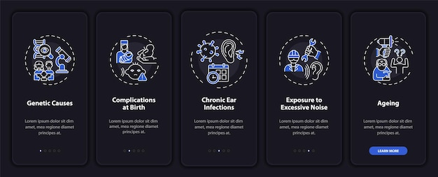 Hypoacusis aspects onboarding mobile app page screen with concepts