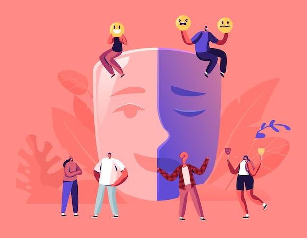 偽善の概念。笑顔と悲しい泣き声の部分で分離された巨大なマスクに座っている男性と女性。漫画フラットイラスト