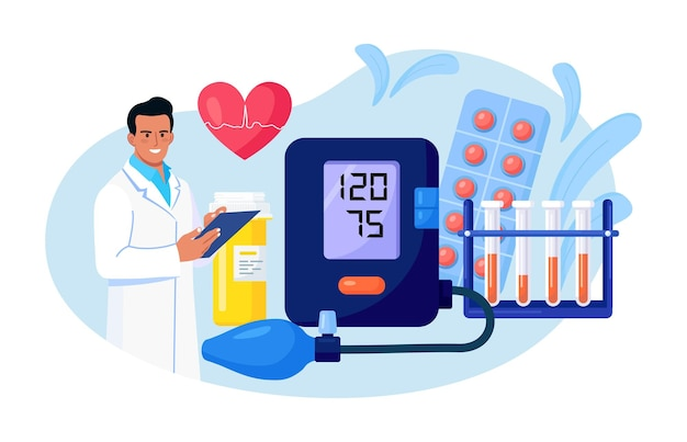 Hypotension or hypertension disease. doctor writing results of cardiology checkup, sphygmomanometer, blood test tubes, medications on background. cardiologist measuring patients blood pressure, pulse
