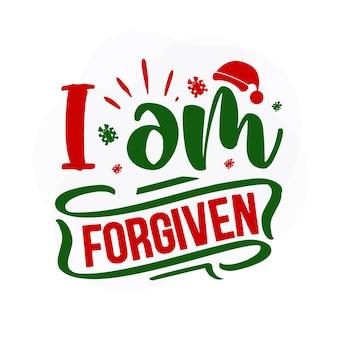 Я прощен с рождественской цитатой premium векторы