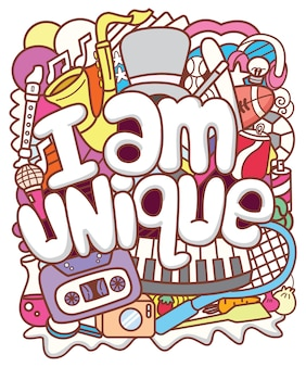 I am unique typography with doodle art