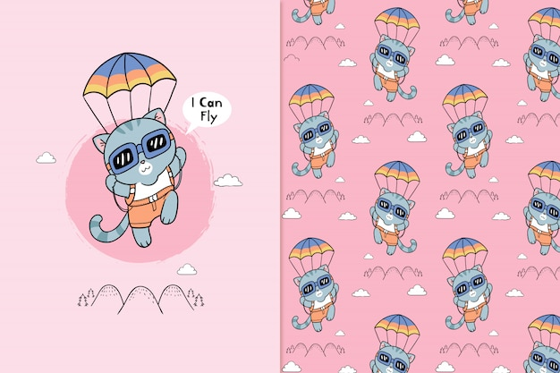 I can fly pattern Premium Vector