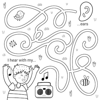 I can hear with my ears black and white maze game for kids. five senses labyrinth coloring page.