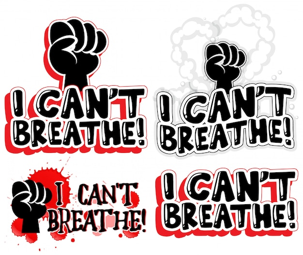 I can't breathe font text banner set