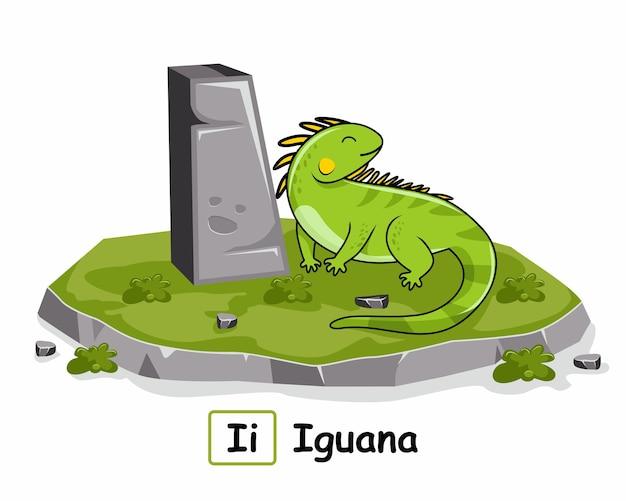 イグアナ動物のアルファベットロックストーンの私