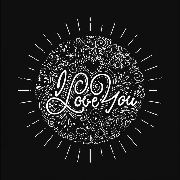 I give you all my love. hand-lettering text . handmade vector calligraphy for your design dotwork
