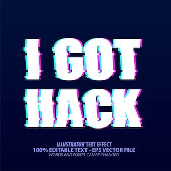 해킹, glitch tik tok 스타일 편집 가능한 텍스트 효과가 있습니다.