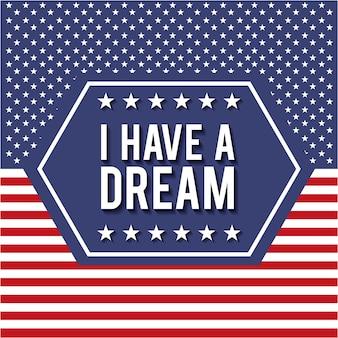 私は星とストライプの背景を持つ夢のバッジポスターを持っています
