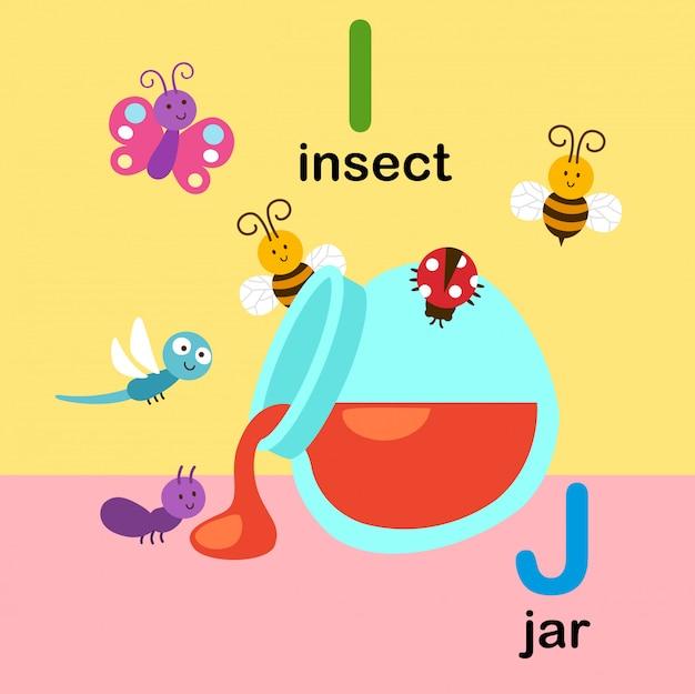 昆虫のアルファベット文字i、瓶、イラストのj
