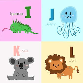I to l animals alphabet illustration collection.